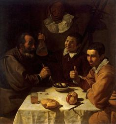 Three Men at Table. Oil on canvas. The Hermitage, St. artwork by Diego Velazquez Anthony Van Dyck, Spanish Painters, Spanish Artists, Francisco Goya, Caravaggio, Rembrandt, Diego Velazquez, Baroque Art, Baroque Painting