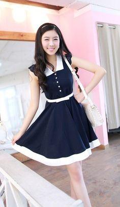 Korean lace sleeve swing dress with belt