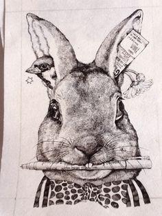 ホルベイン画材×ヒグチユウコ クロッキー帳 「うさぎ」製作途中