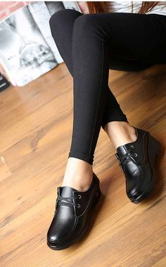 Women's #black leather casual wedge style #DressShoes, sewing thread design, Lace up style, Cotton lace, Round toe design, casual leisure work occasions.