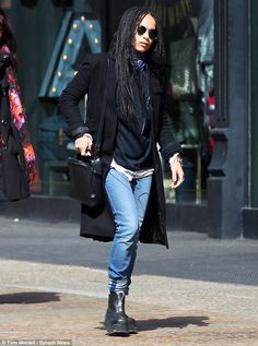 Boho style: Zoe was spotted headed to the NYC subway earlier on Friday while dressed in je...