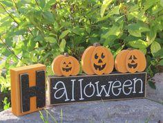 HALLOWEEN BLOCKS for home, desk, shelf, mantle, holiday, october, jackolantern, pumpkin, decor. $20.95, via Etsy.