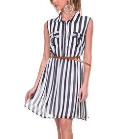 Look what I found on #zulily! Black & White Stripe Belted Shirt Dress by Stanzino #zulilyfinds