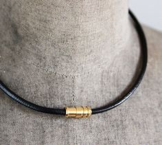 Unisex Leather Cord Necklace Gold Plated Stainless Steel