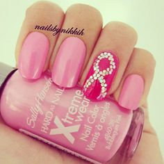 Pink Ribbon Nail Art