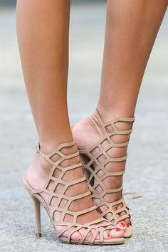 Set On You Heels Natural Caged Heels at reddressboutique.com