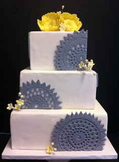 Grey And Yellow Wedding Cake Lace Tiered