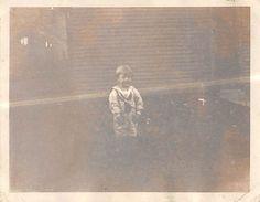 Photograph Snapshot Vintage Black & White: Boy Cute Yard Sweet 1920's