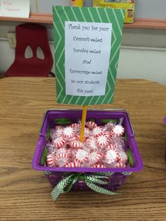 Open house decorations. Gifts for the parents. Mint poem! Thank you for your commit-mint, envolve-mint, and encourage-mint!