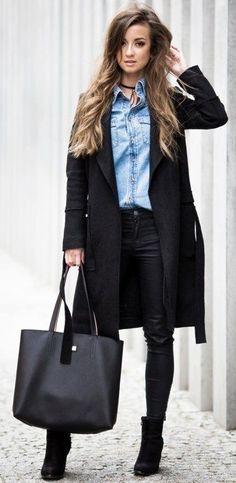 #fall #fashionistas #outfits | Black + Denim