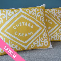 Supersize Custard Cream Printed Cushion by nikkimcwilliams on Etsy