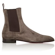 Christian Louboutin Men's Roadie Suede Chelsea Boots (€1.100) ❤ liked on Polyvore featuring men's fashion, men's shoes, men's boots, mens slipon shoes, mens beatle boots, mens square toe shoes, mens boots and mens suede boots