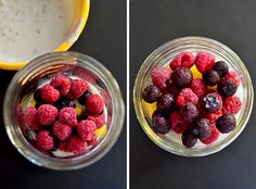 Make-Ahead Fruit & Yogurt Breakfast Parfaits are a quick and easy gluten-free breakfast recipe. Assemble once then grab and go for easy breakfasts all week long! Yogurt Breakfast, Grab And Go Breakfast, Free Breakfast, Paleo Breakfast, Breakfast Meals, Healthy Breakfasts, Fruit Yogurt, Yogurt Parfait, Berry Sauce