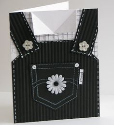 "handmade card ... shaped like coveralls ... black and white ... luv the details that make it ""real"" ..."