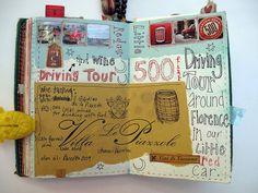 Italy travel journal a fabulous day spent driving aro. Art Journal Pages, My Journal, Art Journals, Moleskine, Scrapbook Journal, Travel Scrapbook, Scrapbook Photos, Smash Book, Altered Books