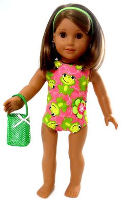 """4 AMERICAN GIRL 18"""" Doll Clothes set with bathing suit, headband, and beach bag"""