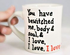 Valentine Funny Mug coffee tea cup diner mug red white heart I love you pride and prejudice darcy