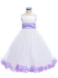 ae14e16d63e White or Ivory Satin Tulle Pick Your Sash Petals Flower Girl Dress (Sizes