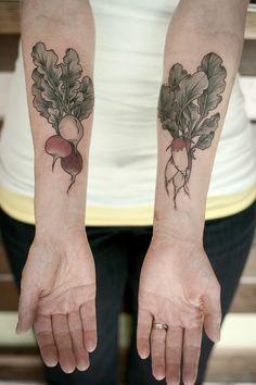 """radish bunches! by Kirsten Holliday, Wonderland Tattoo, Portland, OR"""