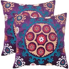 @Overstock - Safavieh Vanessa 20-inch Purple Decorative Pillows (Set of 2) - Inspired by the Uzbek needlework of Suzani textiles, this folkloricdesing features bold jewel-toned blues and fuchsias embroidered in petite crewel stitchery on a ground of linen and cotton.  http://www.overstock.com/Home-Garden/Safavieh-Vanessa-20-inch-Purple-Decorative-Pillows-Set-of-2/7576252/product.html?CID=214117 $61.19