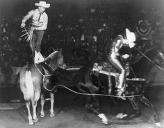 Trick riding act in 1964 in the old Joe & Harry Freeman Coliseum during the Rodeo performance. #sarodeo
