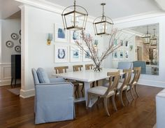 Plates peeking out from entryway Blue and White Breakfast Room with Double Lanterns