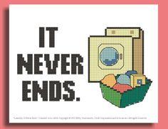 Funny Cross Stitch Pattern: Laundry Never Ends.