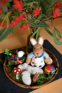 Easter nature table by colophon design, via Flickr