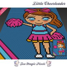 Little Cheerleader crochet blanket pattern; c2c, knitting, cross stitch graph; pdf download; no written counts or row-by-row instructions by TwoMagicPixels, $3.79 USD