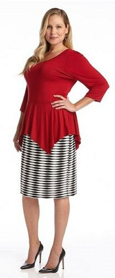 PLUS SIZE RED 3/4 SLEEVE PEPLUM TOP This Karen Kane peplum top is an updated classic. Constructed in a stretchy spandex jersey material, it features a wide scoop neck, 3/4 sleeves and a handkerchief hem that will skim over hips for a flattering effect. Its simple design allows you to accessorize with most anything for an easy casual to dressy transformation. #Plus_Size #Red #Peplum_Top #Karen_Kane