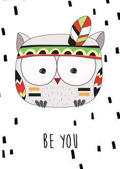 Tribal Owl Print - Nursery Prints - Kids Room Wall Art - Print - Print - Be You Nursery Print Nursery Prints, Nursery Wall Art, Wall Art Prints, Owl Canvas, Canvas Art, Tribal Animals, Arte Tribal, Owl Print, Drawing For Kids