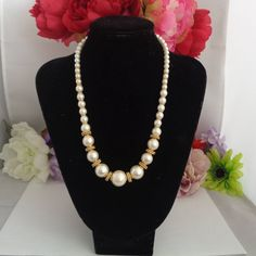 """Reduced Vintage Faux Pearl with Goldtone Trim 18"""" Necklace. The Faux Pearls go from Smaller to Larger. A Stunning Piece 20% percent off and Free Shipping to the United States. in the entire store."""