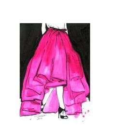 Original watercolor and pen fashion by JessicaIllustration on Etsy, $200.00