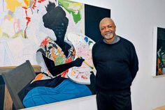 KerryJames Marshall withUntitled (2009) at hisMastry retrospective, currently on show at the Museum of Contemporary Art, Los Angeles