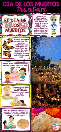 Día de los Muertos PowerPoint with 70 slides of information and photographs.  Includes English and Spanish version.
