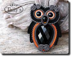 Брошь коса OWL - ювелирные изделия, автор Tally - серебро булавки