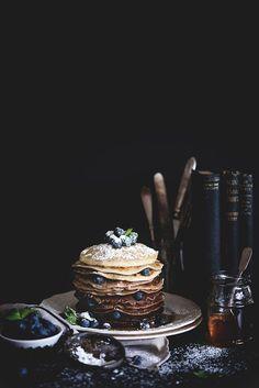 Finding Breakfast: Chocolate Ombré Pancakes — Two Loves Studio Food… Food Design, Waffles, Breakfast Desayunos, Birthday Breakfast, Dark Food Photography, Tabletop Photography, Photography Lighting, Food Porn, Crepes