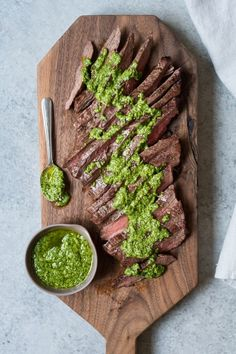 This Grilled Flank Steak w/ Spinach Pesto recipe is a quick and easy dinner dish the whole family will love!  Have it ready in about 30 minutes.  #GrilledSteak #SpinachPesto #LifeisbutaDish