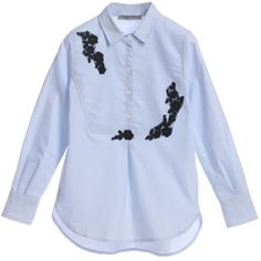 <span>A pale blue soft cotton girls blouse by Ermanno Scervino with bits of navy blue lace appliqued on the front yoke. It is button opening on the front yoke with a pleat below and the sleeve cuffs close with double buttons. The blouse can be worn tucked in or the shirt tails can be worn loose out, belted or not, giving many outfit variations.<br /></span> <ul> <li>98% cotton, 2% elastane<br /></li> <li>Machine wash (30*C)</li> <li>Made in Italy</li> </ul>