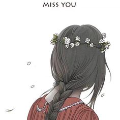#art #girl #flower crown #I miss you