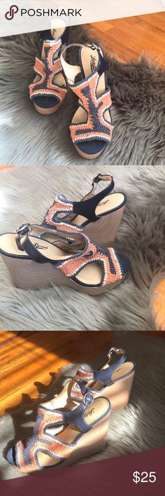 Lucky Brand Wedges Super cute & colorful Lucky Brand Cork Sole Wedges, perfect for spring/summer!😍 Have been worn but still in great condition, make a reasonable offer!😊 Navy/Coral/White Lucky Brand Shoes Wedges