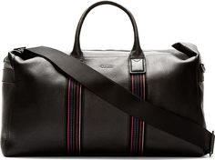 Paul Smith - Black Grained Leather Duffle Bag   SSENSE