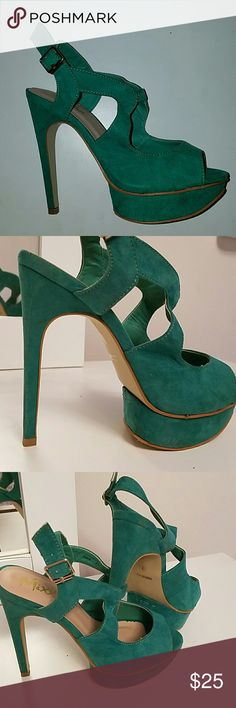 LAST MARKDOWN! Mix shuz shoes pumps size 7 Emerald like green shoes used once Mixx Shuz Shoes Heels