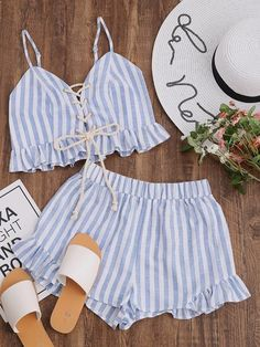 Shop Striped Lace Up Smocked Cami And Ruffle Shorts Co-Ord online. SheIn offers Striped Lace Up Smocked Cami And Ruffle Shorts Co-Ord & more to fit your fashionable needs. Mode Outfits, Fashion Outfits, Womens Fashion, Fashion Trends, Ootd Fashion, Fashion Inspiration, Shorts Co Ord, Frill Shorts, Summer Outfits