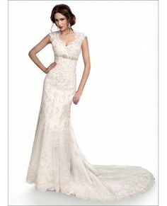 Lace Keyhole Back Wedding Dress With Empire Waist