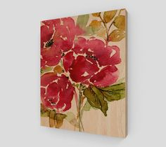 """Wood print Crimson peonies on wood"""" by Hand and Hart Designs.  Watercolor design in US and printed in Canada.  Natural wood grain or soft white background."""