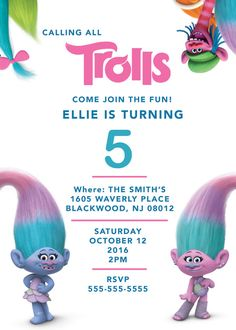 Printable digital PDF Trolls Birthday Party invitation! Super cute characters that Im sure kids will love! I can make so many varieties of these invites, printable and custom made. Very easy to customize to make it as unique as youd like  :: WHATS INCLUDED: High resolution PDF file of invitation. The PDF file will be sent to the email that is associated with your Etsy account. :: HOW TO ORDER: Please include the following information in the note to seller section (copy and paste, then fill…