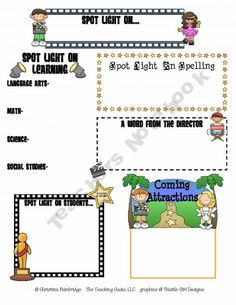 Hollywood classroom theme-- Super cute newsletter template!