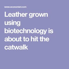 Leather grown using biotechnology is about to hit the catwalk