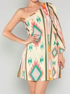 Aztec One Shoulder Dress in Cream - $43.99 : FashionCupcake, Designer Clothing, Accessories, and Gifts